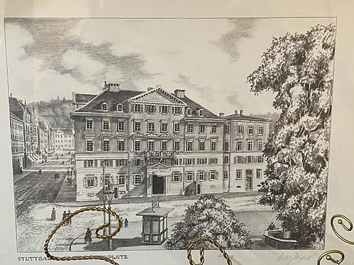 Original Radierung - Stuttgart, Charlottenplatz