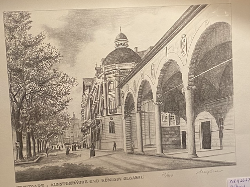 Original Radierung - Stuttgart Kunstgebäude und Königin Olga Bau