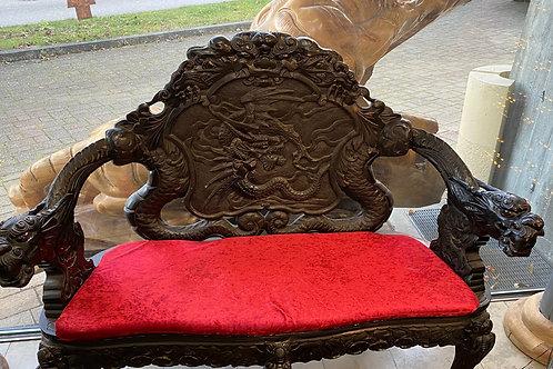 chinesische Sitzgarnitur aus Holz in schwarz mit rotem Samt, Bank & 2 Stühlen