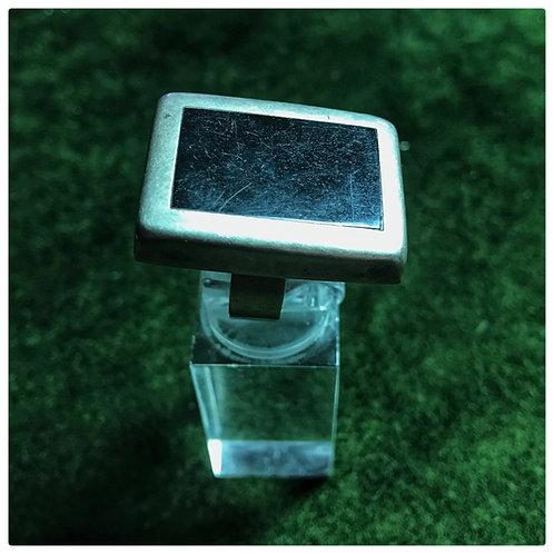Ring, Mexiko Silber, quadratisch, Onyx-Scheibe, Ringgröße= 55-56