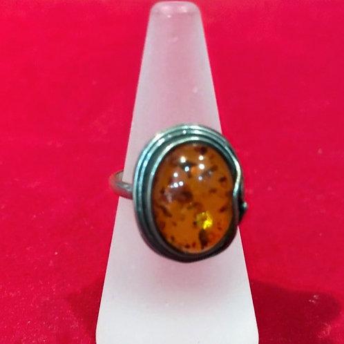 Ring, Silber; Bernstein