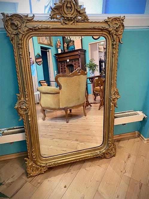 Großer/ massiver Wandspiegel aus einem Schlösschen, goldfarben