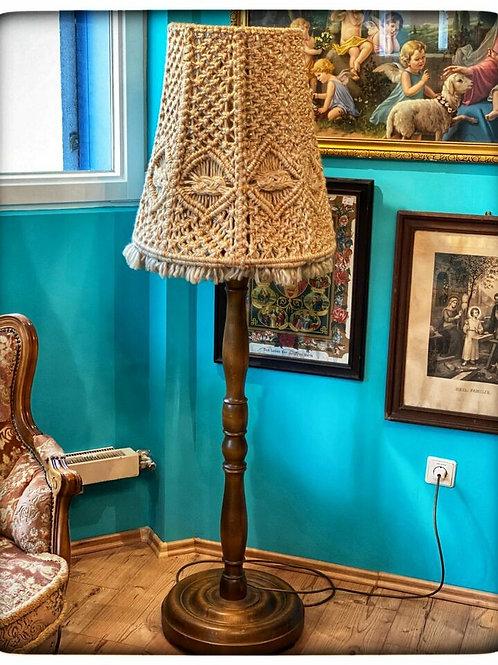 Tolle Original Vintage Stehlampe mit Schirm und Holzgestell