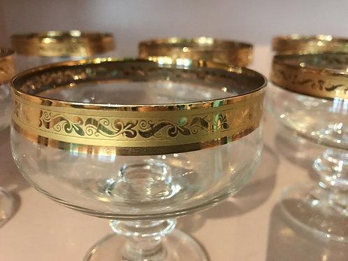 30-teiliges Gläser-SET mit Goldrand super erhalten