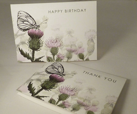 Butterfly + Thistles Card