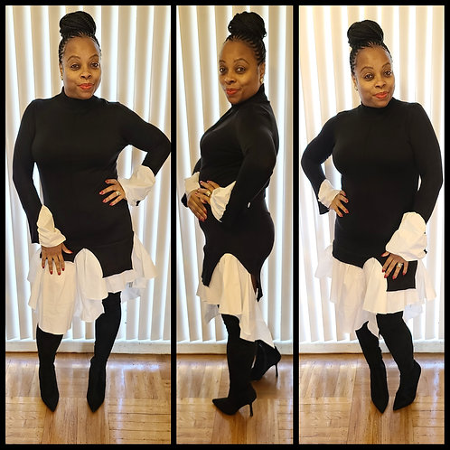 """""""Checkmate"""" Sweater Dress"""