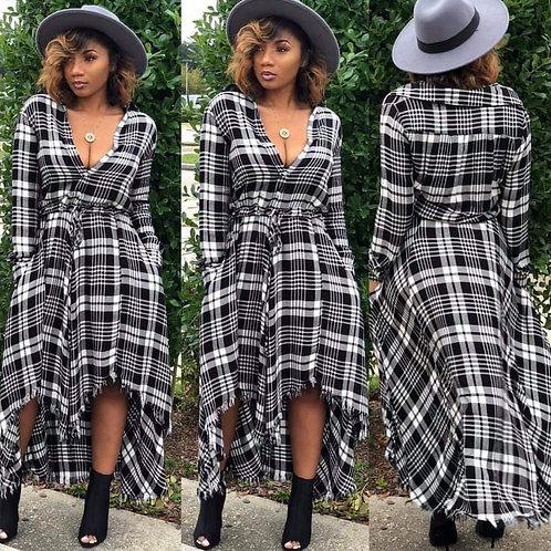 Perfectly Plaid Hi-Low Dress