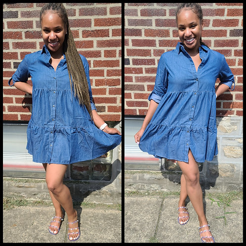 """Baby Denim"" Babydoll Dress"