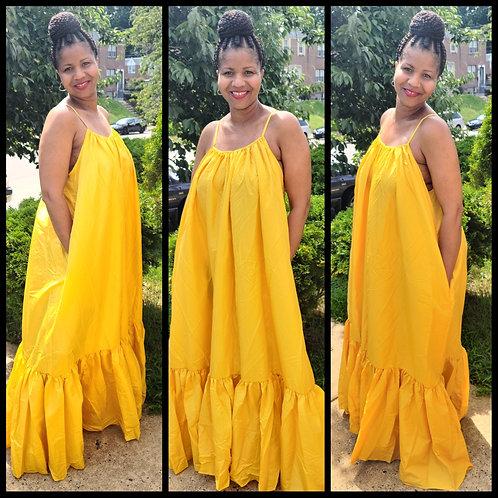 Lola Oversized Maxi Dress - Yellow