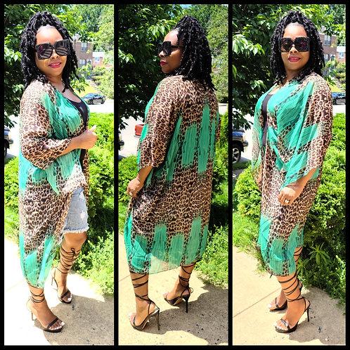 Green Leopard Kimono