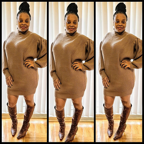 Mahogany Puff Sleeve Sweater Dress