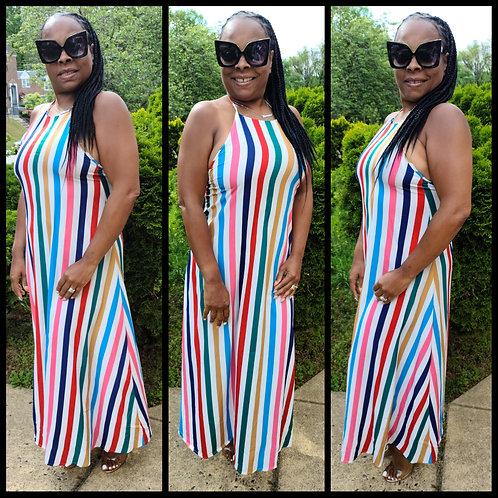 Stuck on Stripes Halter Dress