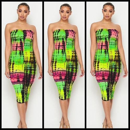 Neon Tie- Dye Tube Dress