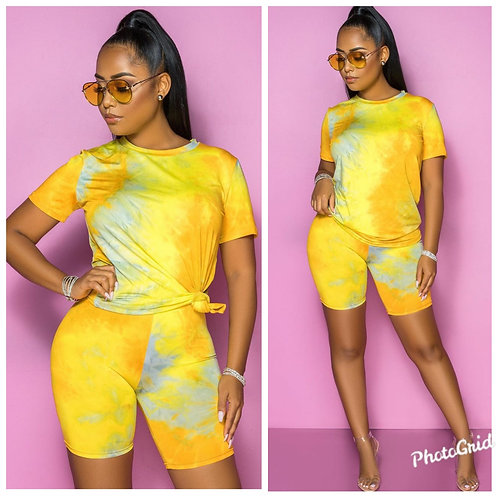 Tye Dye Cutie Yellow 2pc Short Set