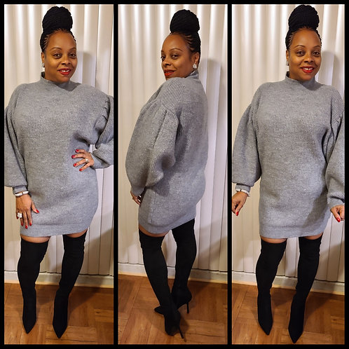 Platinum Puff Sleeve Sweater Dress