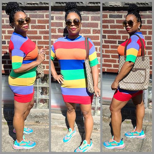 Rainbow Bright Knit Mini Dress