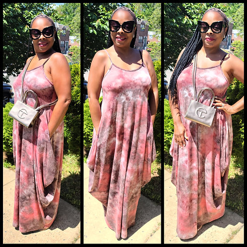 To Dye For Maxi Dress (Pink/Taupe)