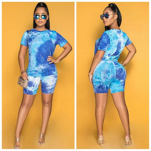 Blue Tye Dye Dream 2pc Short Set