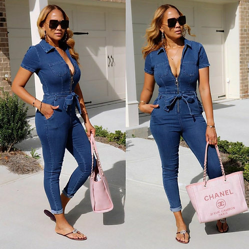Skinny Denim Jumpsuit