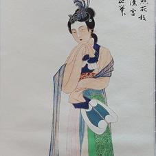 持團扇仕女圖 Mr. WONG Kam Luen  2019   26 x 66 cm