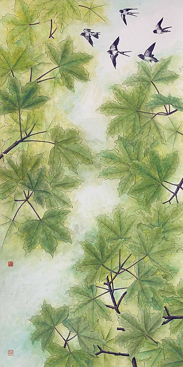 Swifts over Green Maple 燕兒略夏楓 #EL12
