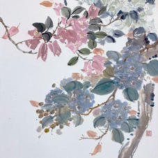 Green in Hong Kong I - Bougainvillea and Crepe Myrtle  Ms. PAU Mo Ching  2019  35 x 46 cm