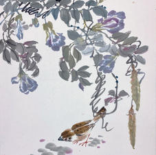 Green in Hong Kong I - Pigeonwings and Sparrow  Ms. PAU Mo Ching  2019  34.5 x 45.5 cm