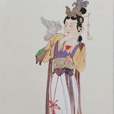 楊妃調鸚圖 Mr. WONG Kam Luen  2019  26.5 x 66 cm