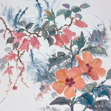 Green in Hong Kong I - Hibiscus by the Pond  Ms. PAU Mo Ching  2019 35 x 46 cm