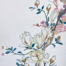 Green in Hong Kong I - Magnolia and Peach Blossom  Ms. PAU Mo Ching  2018  34.5 x 45.5cm