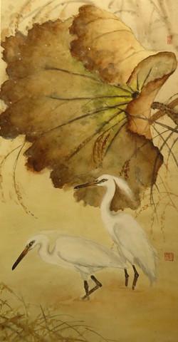 黃小蓉 - 殘荷白鷺