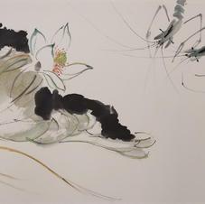 荷塘趣蝦 Mr. WONG Kam Luen  2018  34 x 66 cm