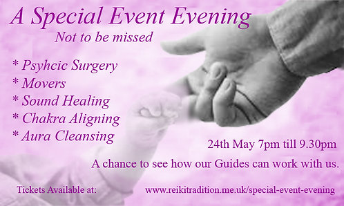 Special Event Evening Sunday 24th May 7pm till 9.30pm