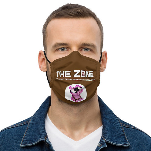 Mask The Zone dark brown logo white