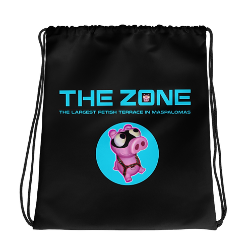 Drawstring bag The Zone black logo turquoise