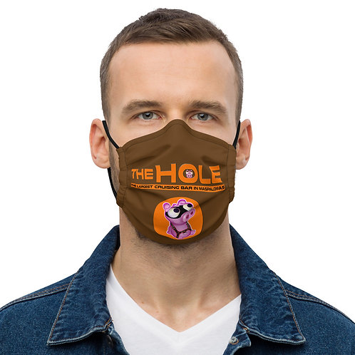 Mask The Hole dark brown logo orange
