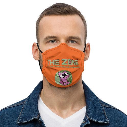 Maske Das orangefarbene Logo der Zone in Camo-Grün