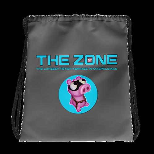 Kordelzugtasche Das Zone graue Logo türkis