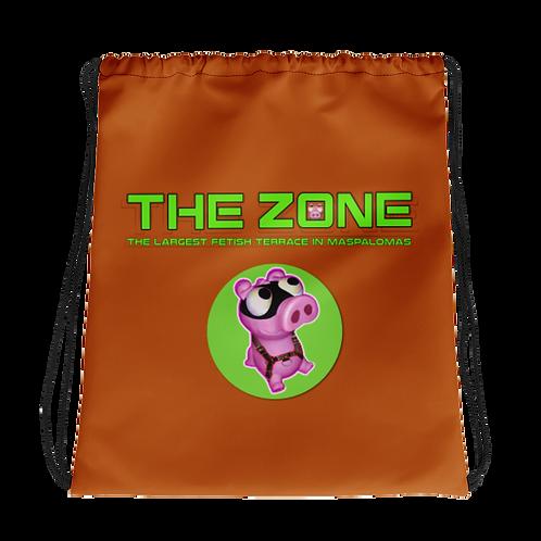Drawstring bag The Zone brown logo green