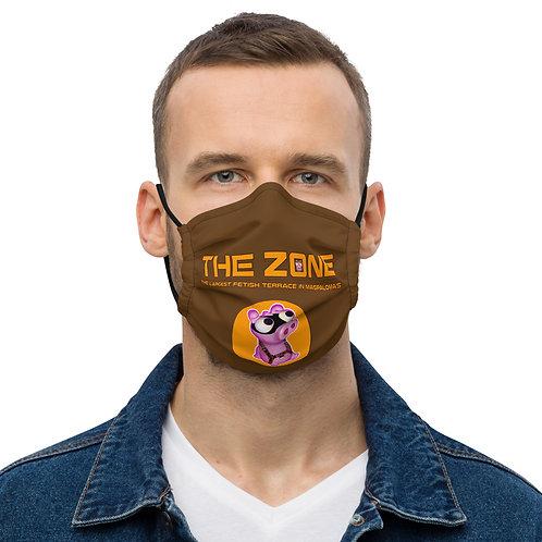 Mask The Zone dark brown logo orange