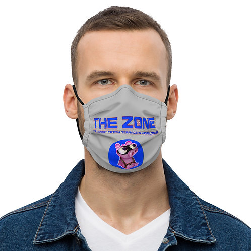 Mask The Zone grey logo blue