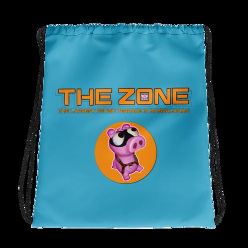 Kordelzugtasche Das Zone Türkis Logo Orange