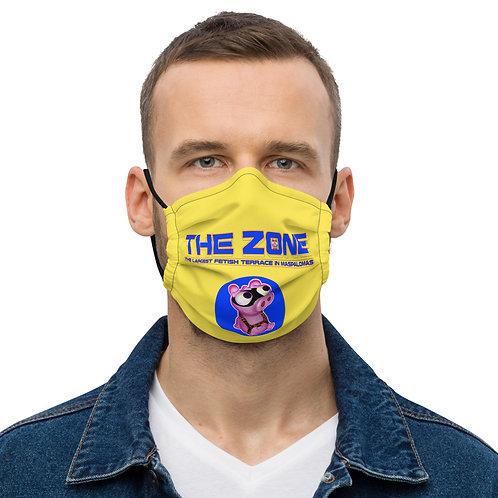 Mask The Zone yellow logo blue