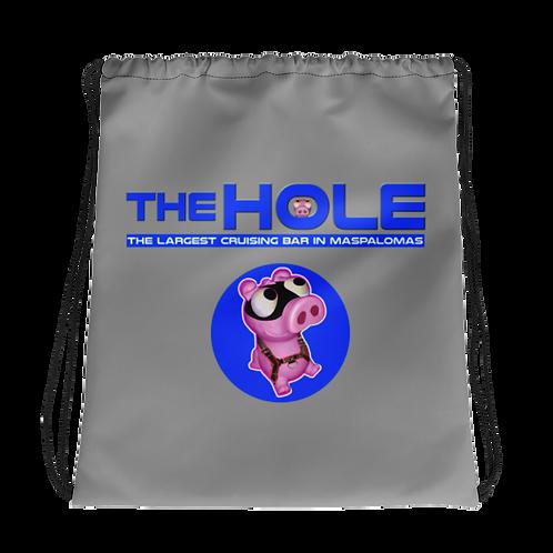 Drawstring bag grey logo blue