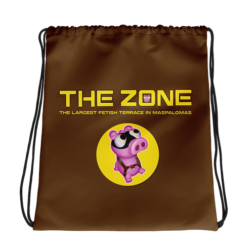 Drawstring bag The Zone brown logo yellow