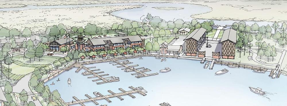WaterWays Marina Village Sketch by the architect