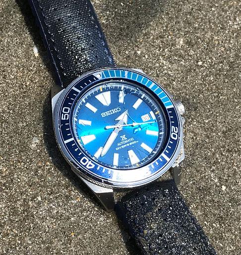 Seiko Blue Lagoon Samurai under water