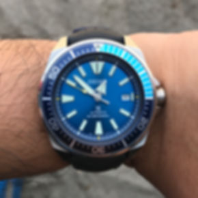 Seiko Blue Lagoon Samurai on Hirsh Strap