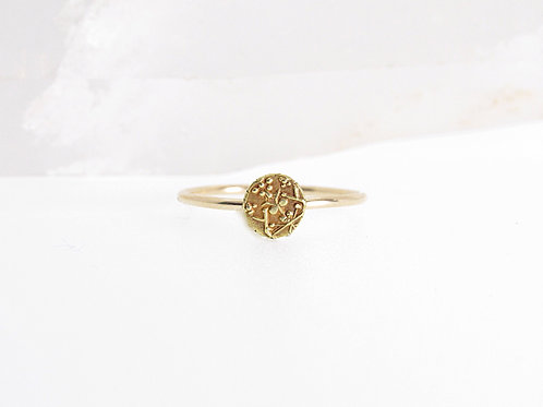 Yoga and meditation solid Gold coin ring