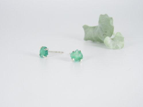 Emerald studs in silver